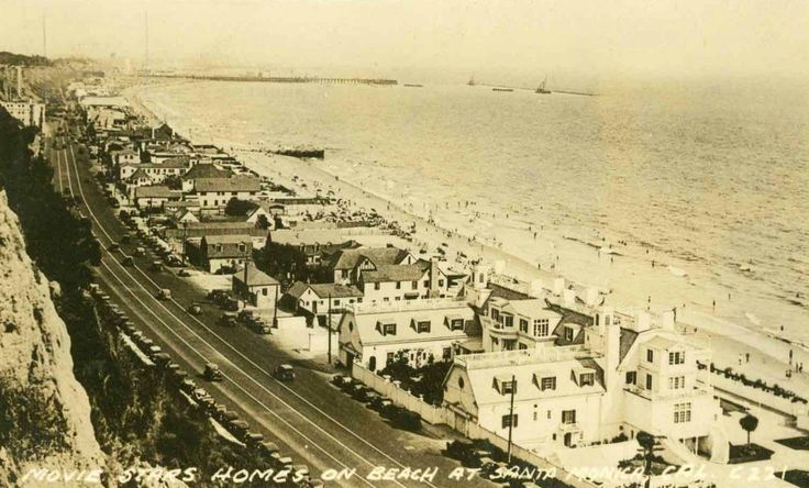 """Movie Stars Homes on Beach at Santa Monica."" Date unknown, but the large white building at the bottom of the picture is Marion Davies' Santa Monica Beach House, which was a Hollywood hangout throughout the 1930s.  Bizarre Los Angeles."