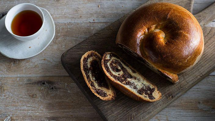 This traditional Easter Italian bread known as gubana is brioche-like (but less rich), cake-like (but more bready), and filled with a wonderfully rich combination of nuts, raisins, chocolate and sweet wine. Check out @annekamanning's Bakeproof column for more tips recipes.