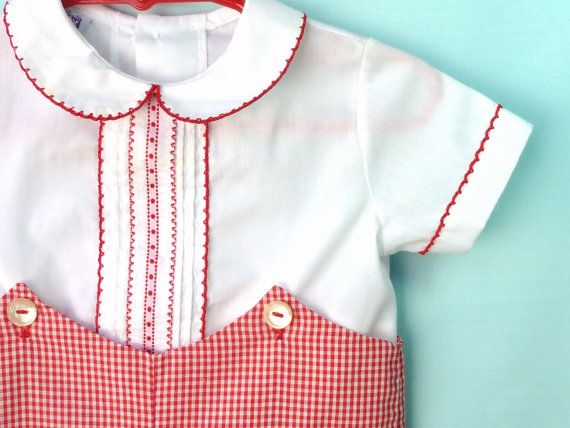 Vintage Baby Boy's 60's Red and White Short Set with Button Detail and Red Trim by Toddle Tyke 3- 6 Months on Etsy, $22.00