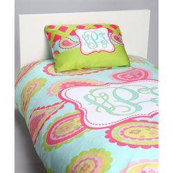 Aqua Paisley Personalized Toddler Bedding Set