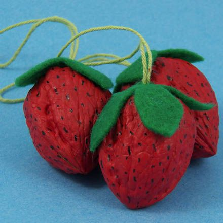 Strawberry Craft - made by painting walnuts in the shell