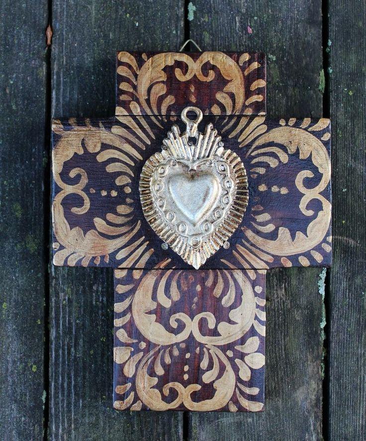 Sacred Heart Milagro / Miracle Hand Painted Cross Mexican Folk Art Michoacán