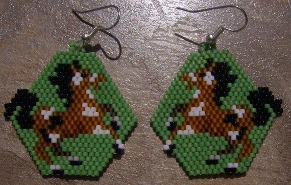 Broken Arrow Earrings Hand Made Seed Beaded by wolflady on Etsy, $25.00