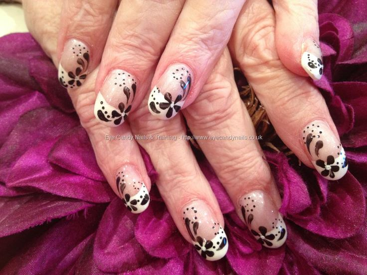 312 best nail art flowers images on pinterest belle nails nail acrylic nails with white french polish and black flower freehand nail art prinsesfo Image collections