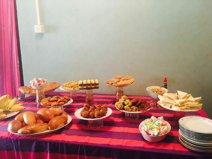 The Food corner of Geshanis Bridal shower. The meal was a Vegan meal. Finger foods, sweets, Sri Lankan sweets, Sri Lankan pan cake, Hot doggs