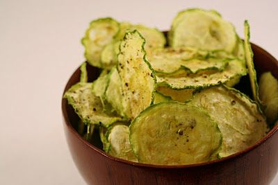 Yum, baked zucchini slices instead of chips. Great healthy snack idea.