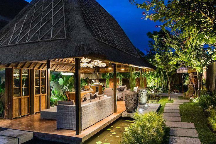 Bali Villa Photography - Komea Villas - reception bale night time lighting