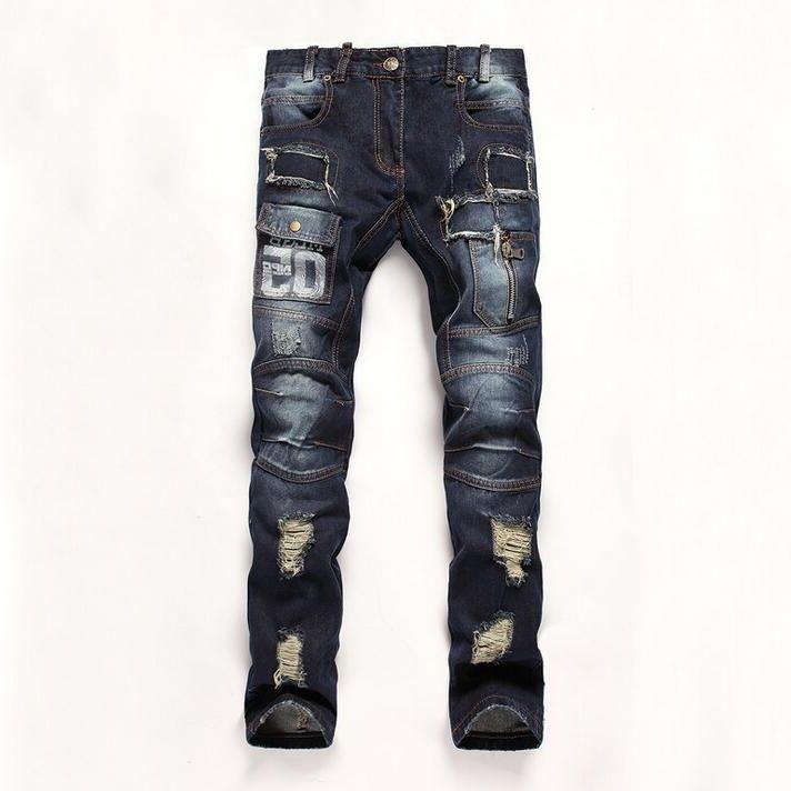 33.90$  Buy now - https://alitems.com/g/1e8d114494b01f4c715516525dc3e8/?i=5&ulp=https%3A%2F%2Fwww.aliexpress.com%2Fitem%2F2732%2F32600834651.html - #2709 2016 Straight Skinny jeans High quality brand Denim pants Mens biker Ripped jeans men Distressed jeans Designer Joggers