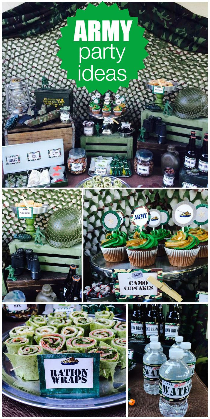 An Army birthday party with camo cupcakes and a favor bar for guests to make their own favor bags!  See more party planning ideas at CatchMyParty.com!