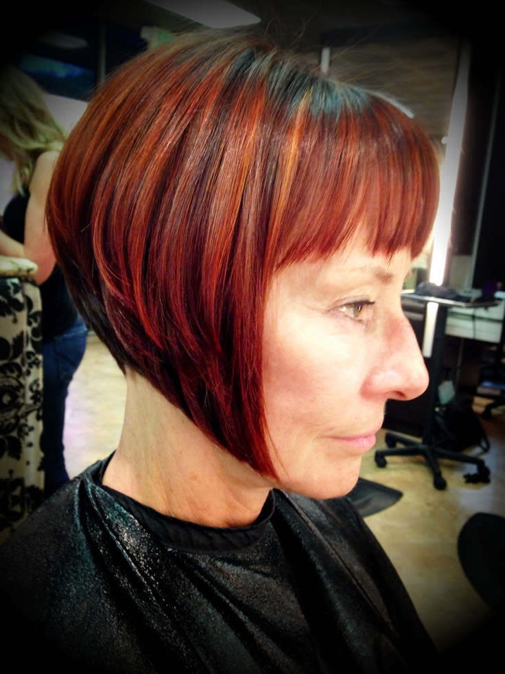 graduated bob haircut copper red hair color www. Black Bedroom Furniture Sets. Home Design Ideas