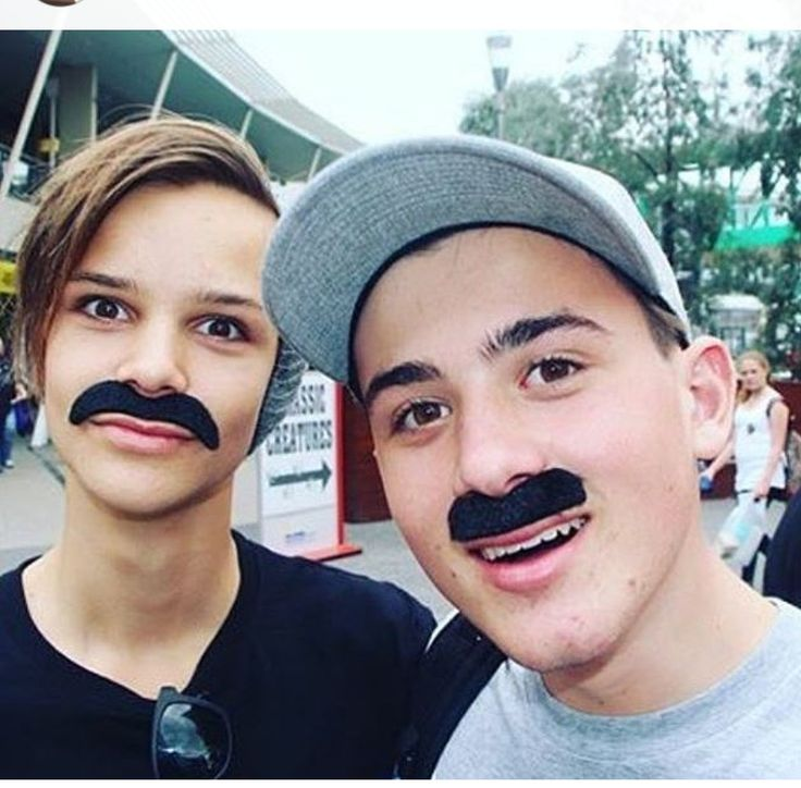 Ethan and chris wearing moustaches omg Ethan look so cute with a beanie on
