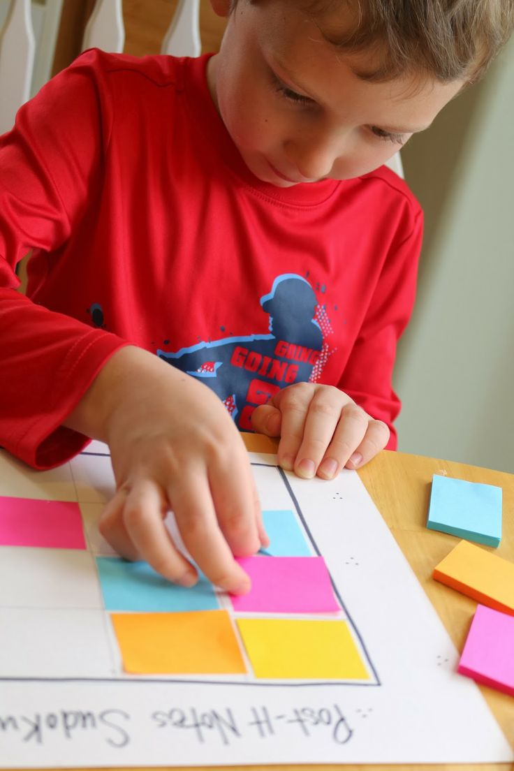 School Time Snippets: Post- It Notes Sudoku {Fine Motor Friday}