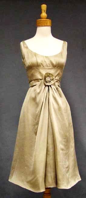 """""""An elegant Hattie Carnegie cocktail dress in a dark beige/light taupe silk"""""""