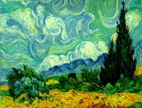 Van Gogh Wheat Field with Cypresses