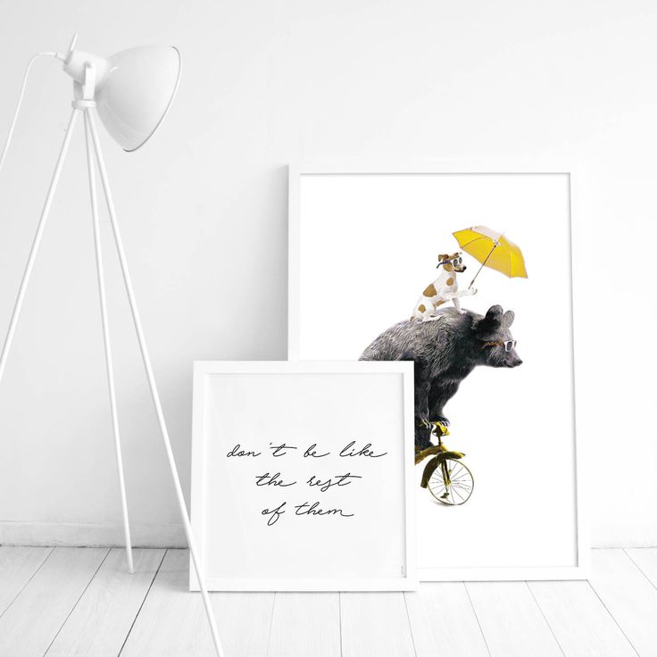 Decorate the kids' room with the cutest children's poster ever! Fun print of a bear on a yellow bicycle and a dog. A super cute poster, perfect for a curious toddler. It looks great in either a black or white picture frame.