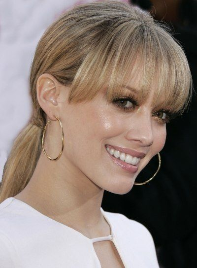 Bangs Hairstyles - Photos and More  simple braid wrapped simple ponytail so sophisticated, so classsic