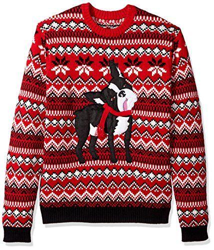 Blizzard Bay Men's Dopey Dog Boston Terrier Knit Ugly Christmas Sweater