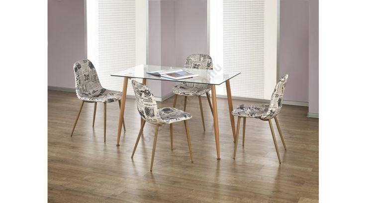 ULSTER - egy modern és stílusos étkezőasztal, edzett üveg asztallappal, festett acél lábbal. Az étkezőasztal mérete: 120/70/75 cm. Az asztal a fotón K220 székekkel látható, melyek nem tartoznak az asztalhoz, de webshopunkban külön