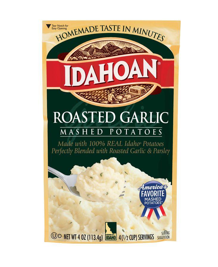"ROASTED GARLIC FLAVORED MASHED POTATOES RECIPE: ~ From: ""IDAHOAN POTATO RECIPES"". *** Our Roasted Garlic Flavored Mashed Potatoes are made with 100% REAL Idaho® Potatoes, perfectly blended with roasted garlic and parsley."