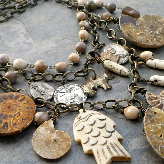 ammonite fossil necklace natural statement necklace by Novella, $165.00