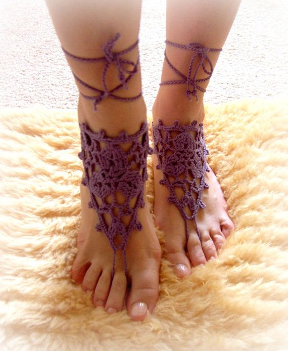 Crochet Barefoot Sandals Beach Pool Wear Yoga Shoes Valentine, Feet Fetish, Goth, Pick your Color. $15.00, via Etsy.