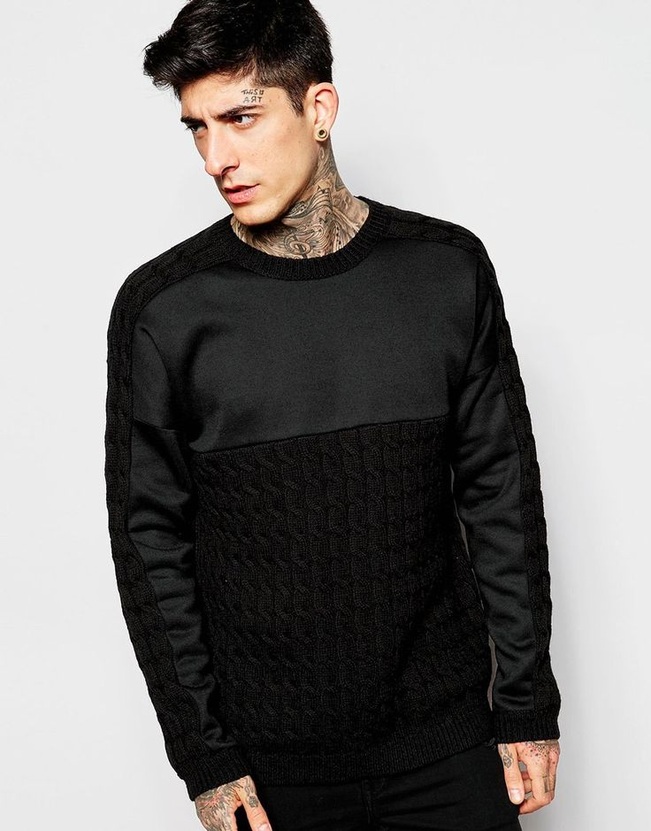 ASOS Cable Knit Jumper with Sweat Panel