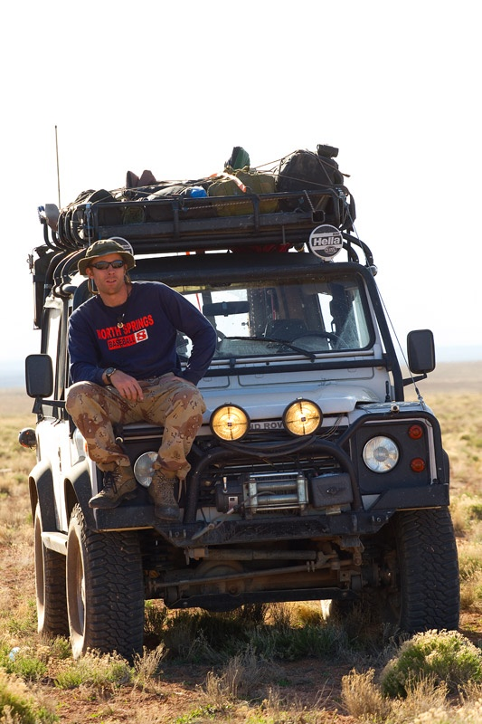 Me on my Land Rover D90. Heading toward the edge of the Grand Canyon across Navajo territory (with permission, of course) Photo: Kevin Lock