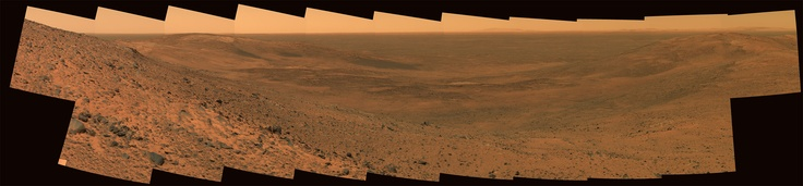 "Gusev Crater 'East Basin' panorama taken from the summit of ""Husband Hill"" by the Mars Spirit Rover on Martian mission day Sol 653 (Nov 3, 2005 on Earth)."