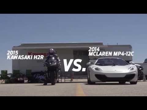 どっちが速い?バイクと車のバトル: kawasaki ninja h2r vs bugatti veyron drag race 2015  KAWASAKI H2R VS MCLAREN MP4-12Cです。 MP4は600ps, 0-100km/hが3秒と、死ぬほど速いですが、それを軽くぶっちぎる程H2Rが速いようです。