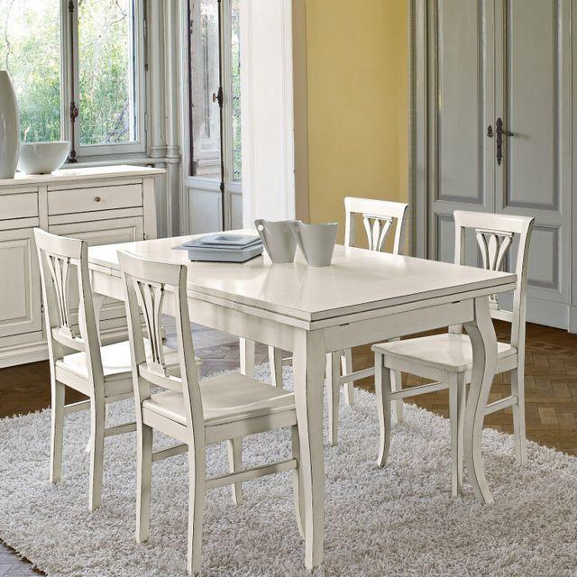 Tavolo Cucina Arte Povera Bianco.Tavolo Cindy Arte Povera Allungabile Colore Bianco Opaco