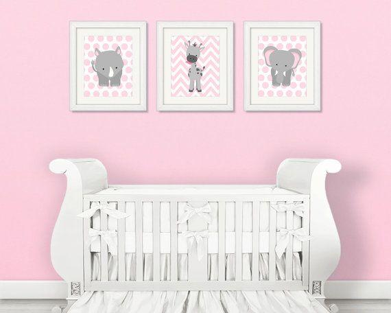 Zoo-Kindergarten-Dekor Elefant Kinderzimmer rosa und grau