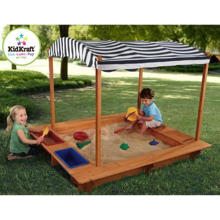 KidKraft Outdoor Sandbox with Canopy - Navy & White ...