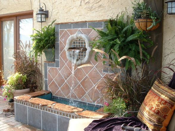 Custom Outdoor Fountain On Back Patio Wall Designed And Built By Hubby