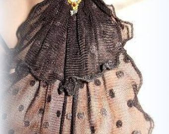 Lace jabot, romantic frill, necktie, collar, vintage accessory,gothic
