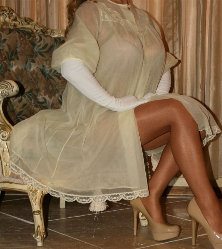 Light Yellow Sheer Chiffon Robe White Satin Gloves Sheer Shimmer Pantyhose and Beige High Heels