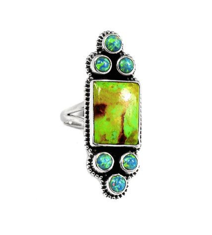 Fabulous Apple-Green Australian Gaspeite Genuine Gemstone and Blue Fire Opal (lab) 925 Sterling Silver Statement Ring by Ameogem on Etsy
