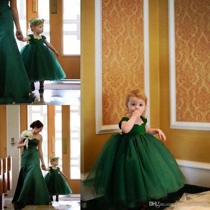 Lovely Little Baby Girl Pageant Dress Emerald Green Cap