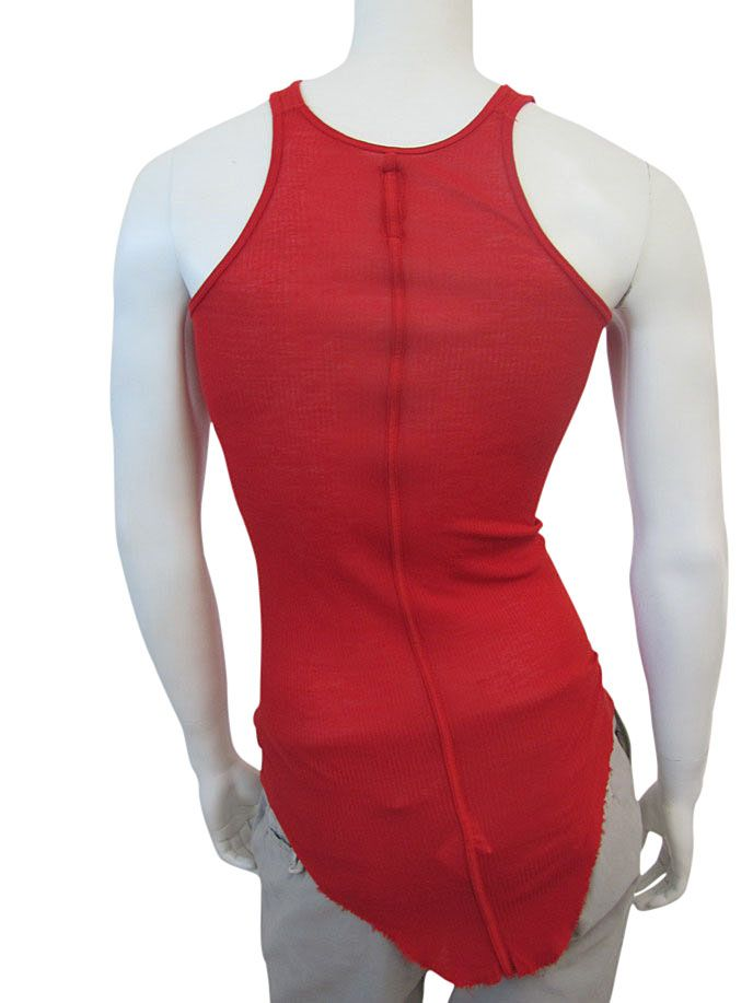 Made in Italy Ribbed viscose crew neck tank top finished in silk, single seam in the centre back, rounded raw cut bottom. EUR 50.00