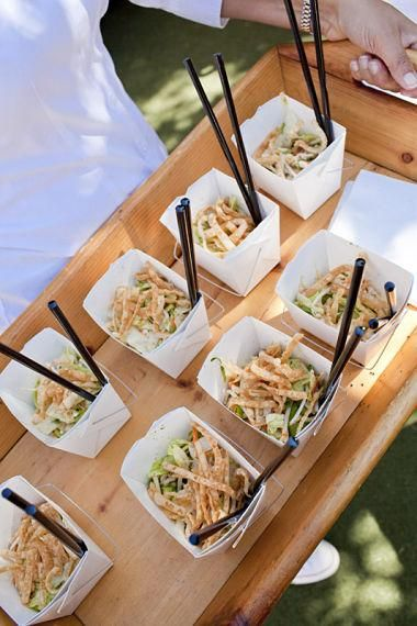 Serve bowl food in mini take-away boxes with chop-sticks