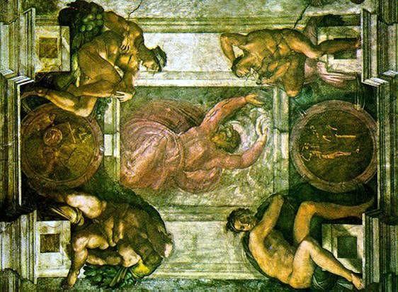 밉과 어둠의 창조  미켈란젤로   프레스코화, 137 x 122 cm, 1537-41,  바티칸 궁 시스티나 예배당 천장     가상의 큐레이팅이지만 실제로 전시회를 연다면 전시회의 천장으로 하고싶은 작품이다.  미켈란 젤로가 자신의 모든 역량을 쏟아부은 천정화의 가운데 부분으로 예술가의 집념과 양보할 수 없는 완벽함의 추구가 돋보이는 작품이다.