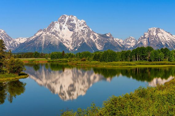 Mount Moran as viewed from Oxbow Bend at Grand by JGHphotography