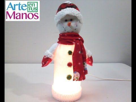 Arte en Tus Manos con Lili y Sam: Lampara Muñeco de Nieve con material reciclado (Botella plástica)