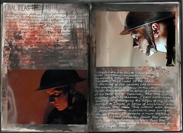 The last page in Ruth's Edexcel A Level Art Unit 3 Sketchbook shows composition plans for her final work. The figure has been carefully positioned within the frame and lighting and colour manipulated to help convey a sombre mood.