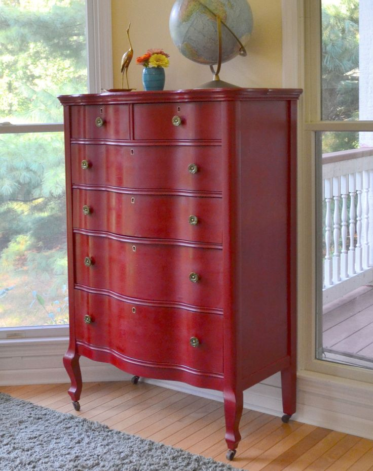 Pretty red dresser, this is the color I want to paint my end table