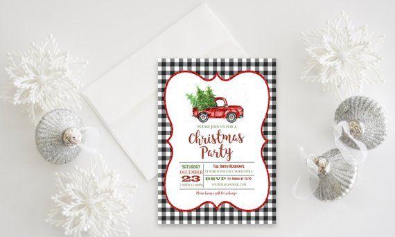 Buffalo Plaid Vintage Truck Christmas Digital Invitation - Holiday