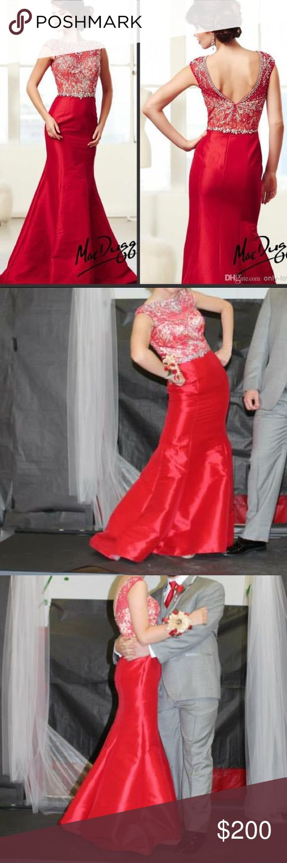 Gorgeous Mac Duggal Prom Dress Gorgeous Mac Duggal red prom dress with beading! Worn twice, in great condition. From a smoke free and pet free home. Classy and Elegant! Mac Duggal Dresses Prom