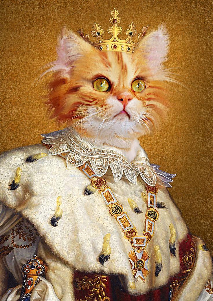 Your pet is a king,Renaissance pet portrait,royal cat