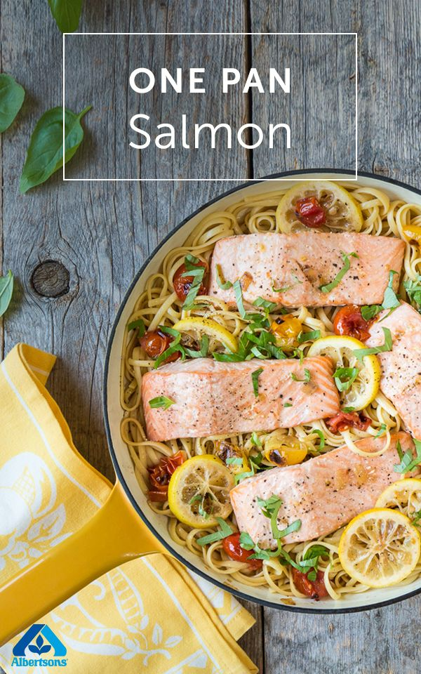 Start your week on a healthy note with this delicious one pan salmon recipe. Give the dish color and flavor with cherry tomatoes, basil and red pepper flakes. Serve over pasta and bon appetit!