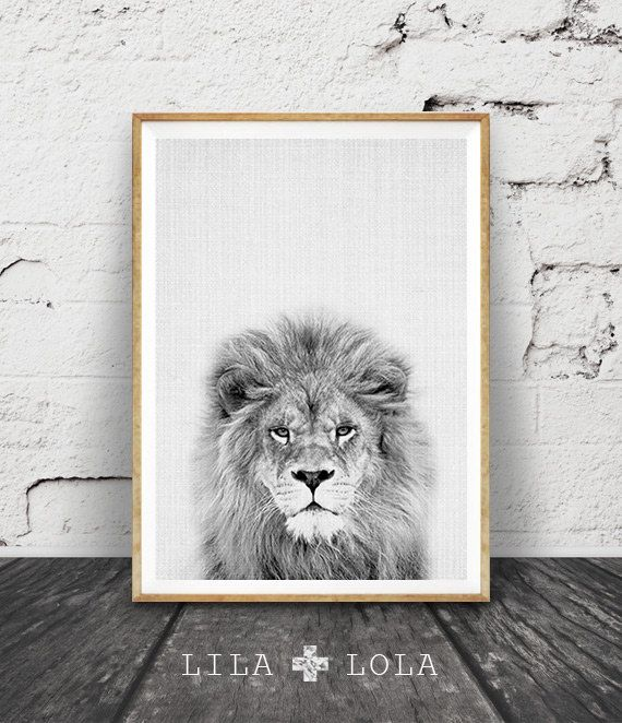 Lion Print, Nursery Animal Wall Art, Kids Printable Art, Black and White Decor, Safari African Animal Print, Lion Photo Wall Art