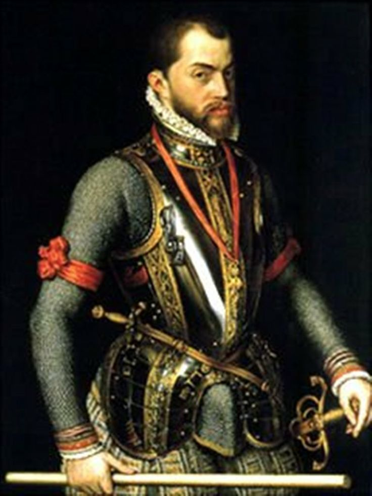 """Philip was born in Valladolid, the son of Charles V of the Holy Roman Empire (who also reigned as Charles I of Spain) and his consort Isabella of Portugal. During his reign, Spain was the foremost Western European power. Under his rule, Spain reached the height of its influence and power, He was described by the Venetian ambassador Paolo Fagolo in 1563 as """"slight of stature and roundfaced, with pale blue eyes, somewhat prominent lip, and pink skin, but his overall appearance is very…"""